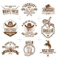 wild west logos vector collection