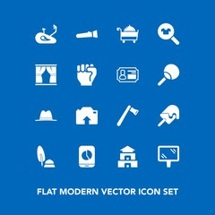 Modern, simple vector icon set on blue background with restaurant, upload, construction, food, road, black, night, female, light, travel, pen, asia, photo, fashion, pagoda, culture, fitness, hat icons