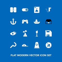 Modern, simple vector icon set on blue background with beauty, white, road, background, warehouse, street, landscape, cargo, sign, computer, wine, beautiful, delivery, blue, sickle, mountain,  icons