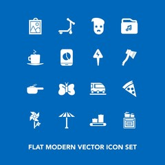 Modern, simple vector icon set on blue background with cooking, picture, oven, pizza, lunch, nature, train, japan, insect, wagasa, blossom, hipster, music, coffee, dinner, food, spring, file icons