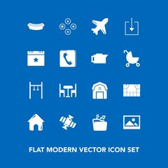 Modern, simple vector icon set on blue background with barn, technology, web, natural, game, old, music, business, food, flight, play, theater, plane, planet, picture, fun, house, staple, dinner icons