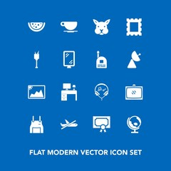 Modern, simple vector icon set on blue background with coffee, audio, cook, business, television, watermelon, office, bunny, image, global, certificate, diploma, cafe, achievement, travel, globe icons