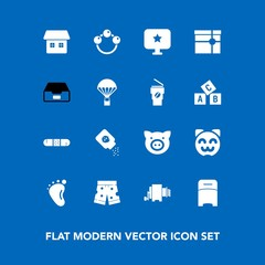 Modern, simple vector icon set on blue background with furniture, fashion, gift, swine, food, foot, white, folder, small, medicine, document, double, sign, present, cat, animal, kitty, infant icons