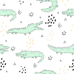 Cute hand drawn seamless pattern with funny crocodiles.