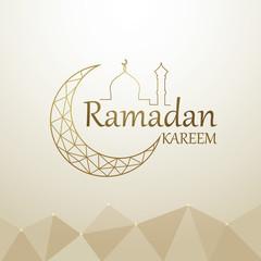 Ramadan kareem islamic design with crescent moon and mosque dome line art