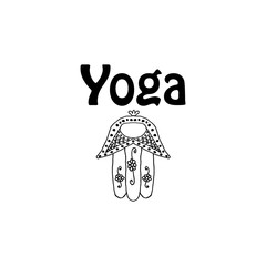 World Yoga Day. Hamsa. Doodle. Hand draw. Vector illustration on isolated background.