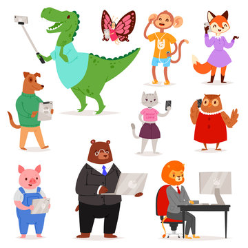 Animals gadget vector animalistic cartoon character bear cat or dog holding phone or camera for selfie photo illustration set of lion or monkey with laptop or tablet or isolated on white background