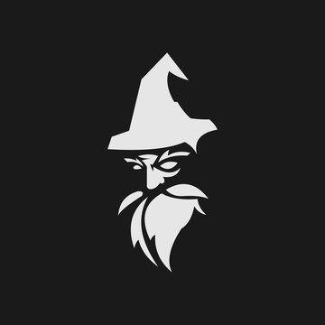 old wise black wizard vector