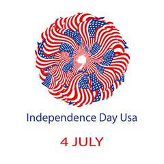 Independence Day United States of America. Mandala from the USA flag. Vector illustration on isolated background.
