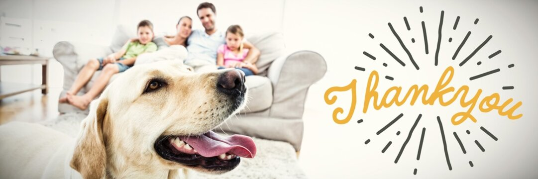 Composite image of close up of thank you text for fathers day