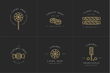 Vector set design golden templates logo and emblems - lollipops with sprinkles caramel candies. Different sweets icon. Logos in trendy linear style isolated on white background.