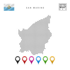Vector Dotted Map of San Marino. Simple Silhouette of San Marino. Flag of San Marino. Set of Multicolored Map Markers