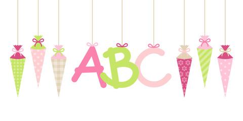 Banner bunte Schultüten & ABC Mädchen