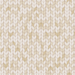 Beige and brown melange knitted fabric seamless pattern, vector