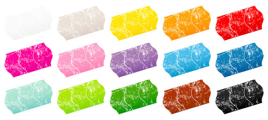 15 Divided Price Tags Sticker Color Scratches
