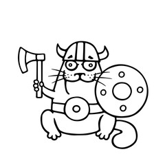 Cat viking with an ax and shield. Vector illustration.