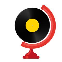 musique - disque Vinyle - concept - monde - globe - écoute - symbole - chanson - vintage - sixties
