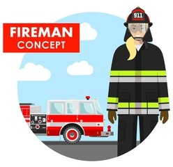 Fireman concept. Detailed illustration of woman firefighter in uniform on background with fire truck in flat style. Vector illustration.