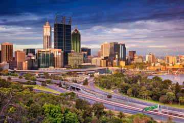 Perth. Cityscape image of Perth skyline, Australia during sunset.