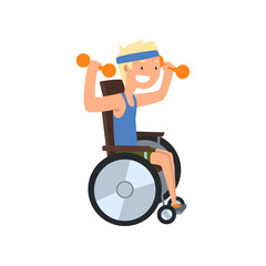 Disabled man in wheelchair exercising with dumbbells, medical rehabilitation, remedial gymnastics vector Illustration on a white background