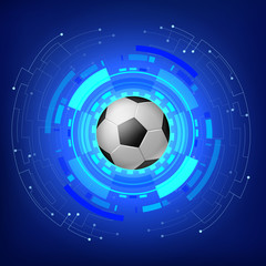Soccer ball with Technology modern background . vector illustration