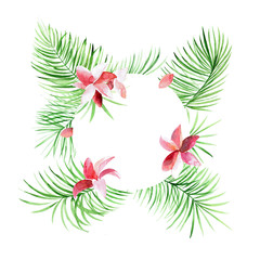 Tropical circle border with palm leaves and flowers. Exotic tree foliage made in watercolor style with place for your text. Jungle design template for banner or poster.