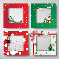 Paper art and craft of Christmas border frame photo design set,transparency,vector