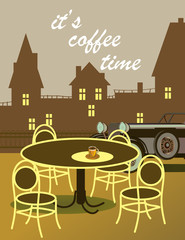 Vector poster with   spring evening in the park   . Typography card, image with lettering.  It's coffee time