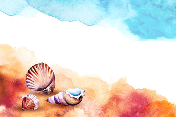 Watercolor illustration of a sea shells on a beach.