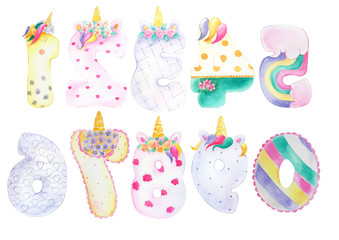 Cartoon figures for a unicorn party