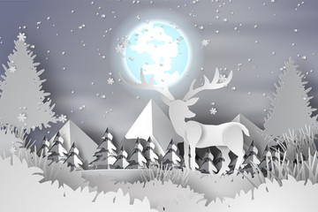 Paper art of deer in the forest lanscape snow with full moon,hill,vector