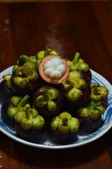 Garcinia mangostana tropical mangosteen fruit