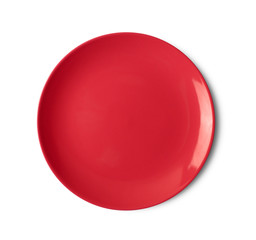 red plate on white background