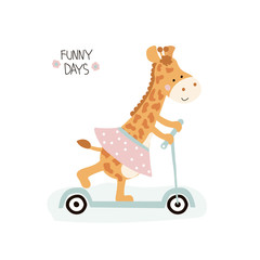 Cute little giraffe girl with kick scooter and lettering. Vector hand drawn illustration.