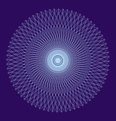 Openwork light blue mandala on a dark blue background. Artistic ornament, spiritual symbol. Vector graphics.