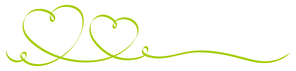 2 Green Calligraphy Hearts Ribbon Banner