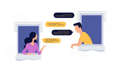 neighbors people character chat on the window, social network concept, flat illustration vector