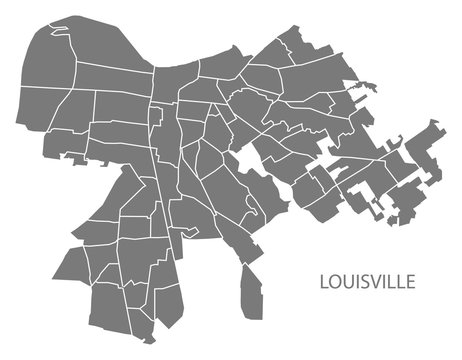 Louisville Kentucky city map with neighborhoods grey illustration silhouette shape
