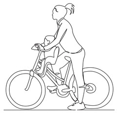 mom with baby on bike