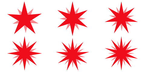 Red beams firework. Best for sale sticker, price tag, quality mark, vector set star glow radiance, design elements sunburst