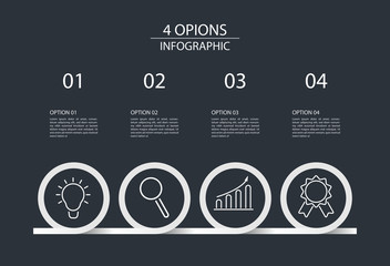 Four steps infographic design template circle style