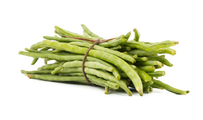 Heap of Green Beans Also Called Snap Beans or String Beans isolated on White Background
