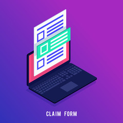 3d claim form on the laptop screen.