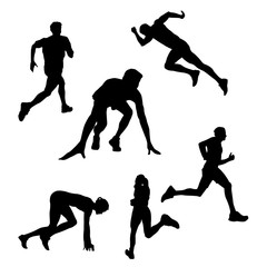 Raster drawing of a silhouette of a runner