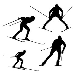 Raster skier pattern on white background, silhouette