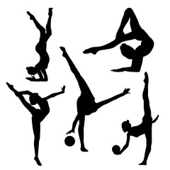 Raster picture of a gymnast girl with a ball