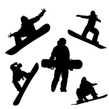 Raster drawings of a silhouette of a snowboarder in different poses