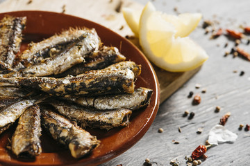 spanish grilled sardines in a plate