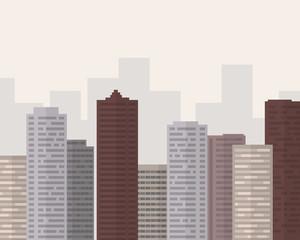 Flat design big city with smog under gray sky