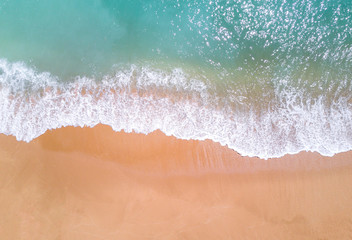 Aerial view of tropical sandy beach and ocean. Copy space
